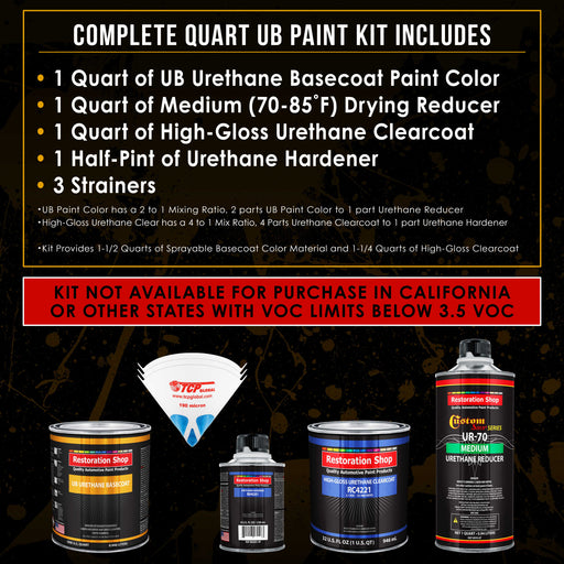 Gulfstream Aqua Metallic - Urethane Basecoat with Clearcoat Auto Paint - Complete Medium Quart Paint Kit - Professional High Gloss Automotive, Car, Truck Coating