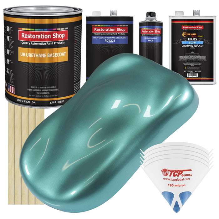 Gulfstream Aqua Metallic - Urethane Basecoat with Clearcoat Auto Paint - Complete Slow Gallon Paint Kit - Professional High Gloss Automotive, Car, Truck Coating