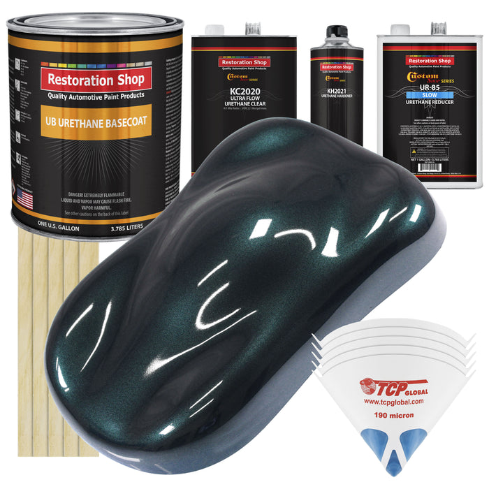 Dark Turquoise Metallic - Urethane Basecoat with Premium Clearcoat Auto Paint - Complete Slow Gallon Paint Kit - Professional High Gloss Automotive Coating