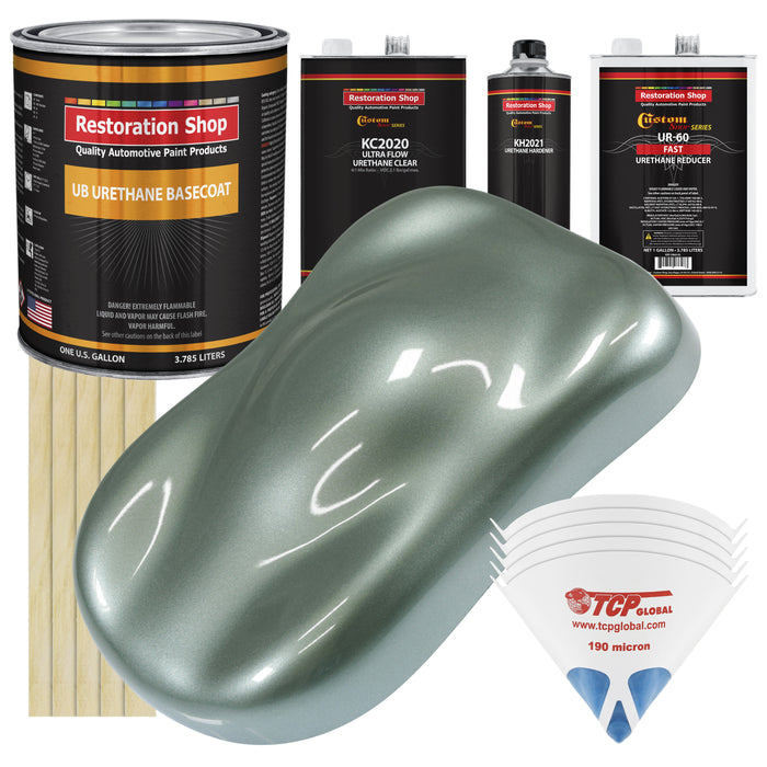 Slate Green Metallic - Urethane Basecoat with Premium Clearcoat Auto Paint - Complete Fast Gallon Paint Kit - Professional High Gloss Automotive Coating