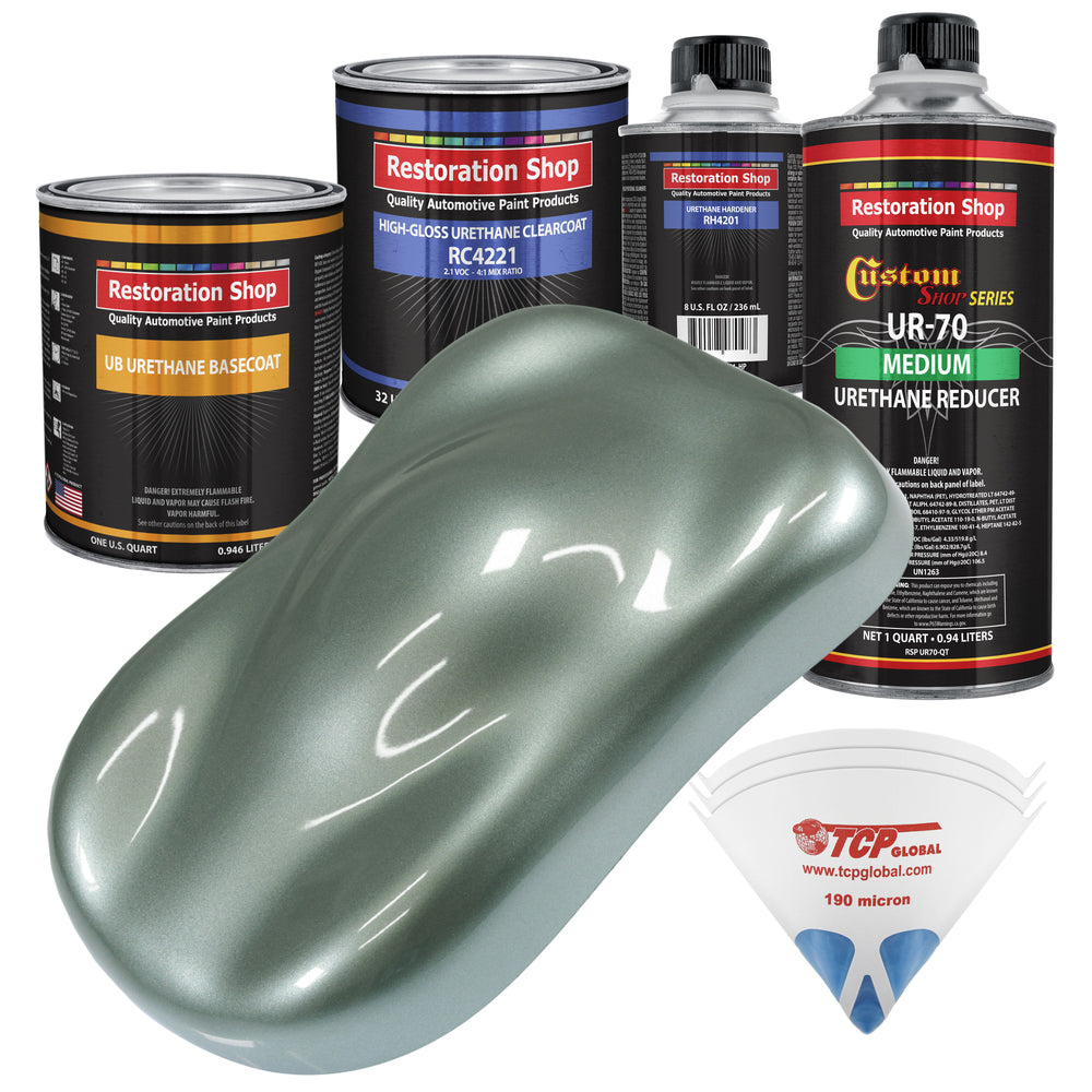 Slate Green Metallic - Urethane Basecoat with Clearcoat Auto Paint - Complete Medium Quart Paint Kit - Professional High Gloss Automotive, Car, Truck Coating