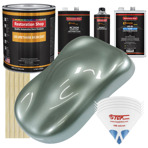 Slate Green Metallic - Urethane Basecoat with Premium Clearcoat Auto Paint - Complete Slow Gallon Paint Kit - Professional High Gloss Automotive Coating