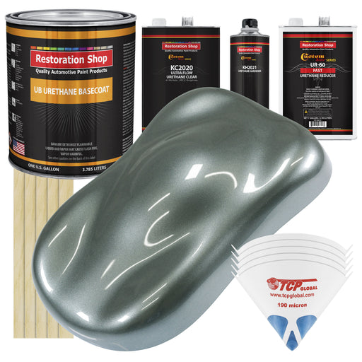 Steel Gray Metallic - Urethane Basecoat with Premium Clearcoat Auto Paint - Complete Fast Gallon Paint Kit - Professional High Gloss Automotive Coating