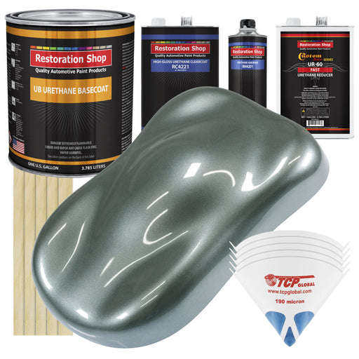 Steel Gray Metallic - Urethane Basecoat with Clearcoat Auto Paint - Complete Fast Gallon Paint Kit - Professional High Gloss Automotive, Car, Truck Coating