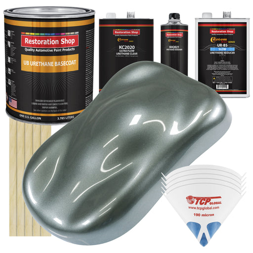 Steel Gray Metallic - Urethane Basecoat with Premium Clearcoat Auto Paint - Complete Slow Gallon Paint Kit - Professional High Gloss Automotive Coating