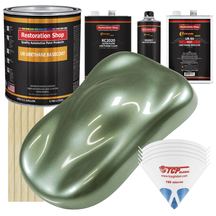 Fern Green Metallic - Urethane Basecoat with Premium Clearcoat Auto Paint - Complete Fast Gallon Paint Kit - Professional High Gloss Automotive Coating