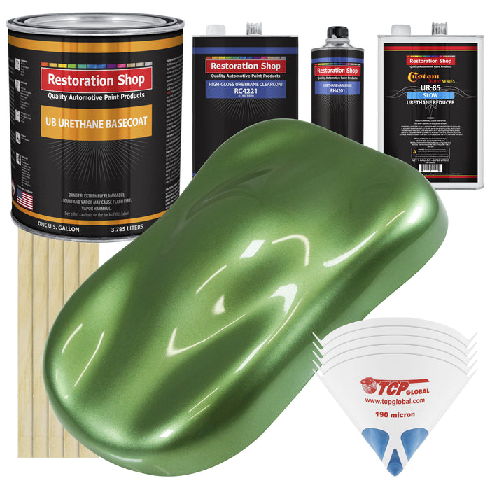 Medium Green Metallic - Urethane Basecoat with Clearcoat Auto Paint - Complete Slow Gallon Paint Kit - Professional High Gloss Automotive, Car, Truck Coating