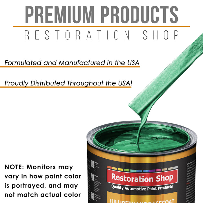 Rally Green Metallic - Urethane Basecoat with Clearcoat Auto Paint - Complete Medium Quart Paint Kit - Professional High Gloss Automotive, Car, Truck Coating