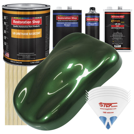 British Racing Green Metallic - Urethane Basecoat with Clearcoat Auto Paint - Complete Fast Gallon Paint Kit - Professional High Gloss Automotive, Car, Truck Coating