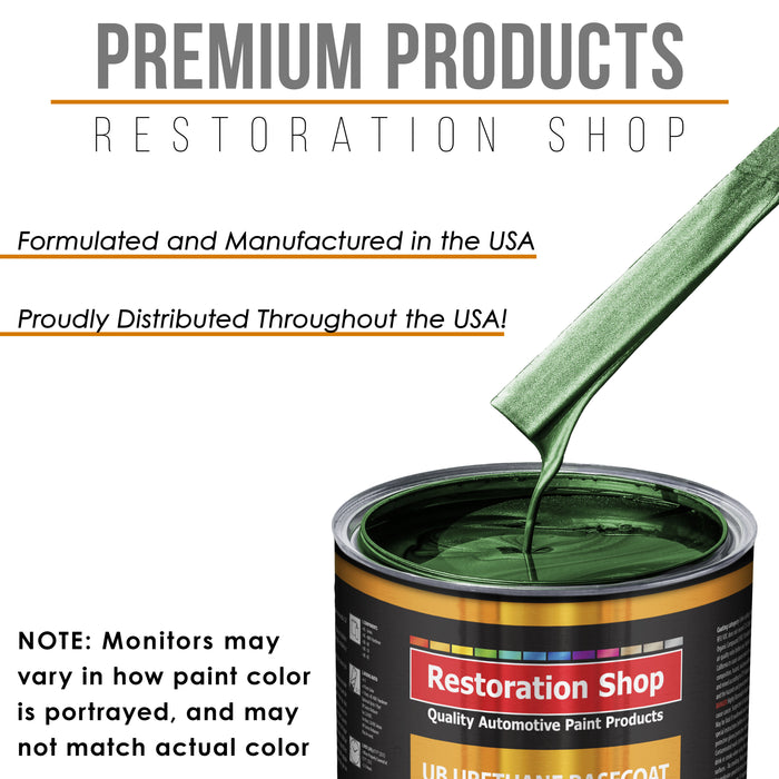 British Racing Green Metallic - Urethane Basecoat with Premium Clearcoat Auto Paint - Complete Medium Quart Paint Kit - Professional High Gloss Automotive Coating