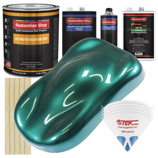 Dark Teal Metallic - Urethane Basecoat with Clearcoat Auto Paint - Complete Medium Gallon Paint Kit - Professional High Gloss Automotive, Car, Truck Coating