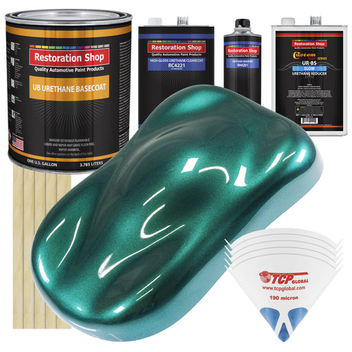 Dark Teal Metallic - Urethane Basecoat with Clearcoat Auto Paint - Complete Slow Gallon Paint Kit - Professional High Gloss Automotive, Car, Truck Coating