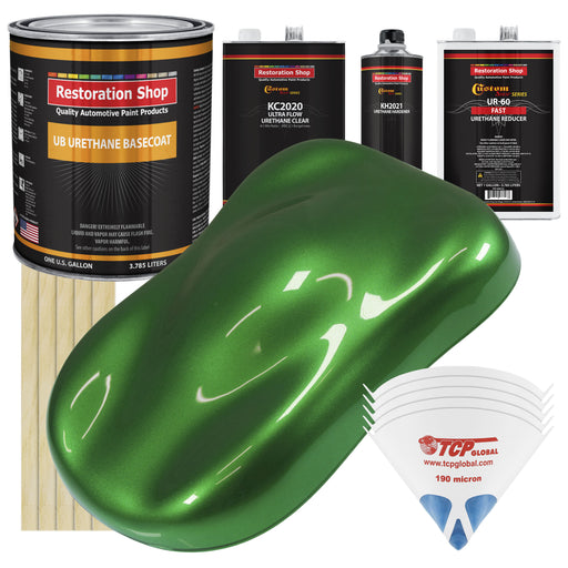Gasser Green Metallic - Urethane Basecoat with Premium Clearcoat Auto Paint - Complete Fast Gallon Paint Kit - Professional High Gloss Automotive Coating