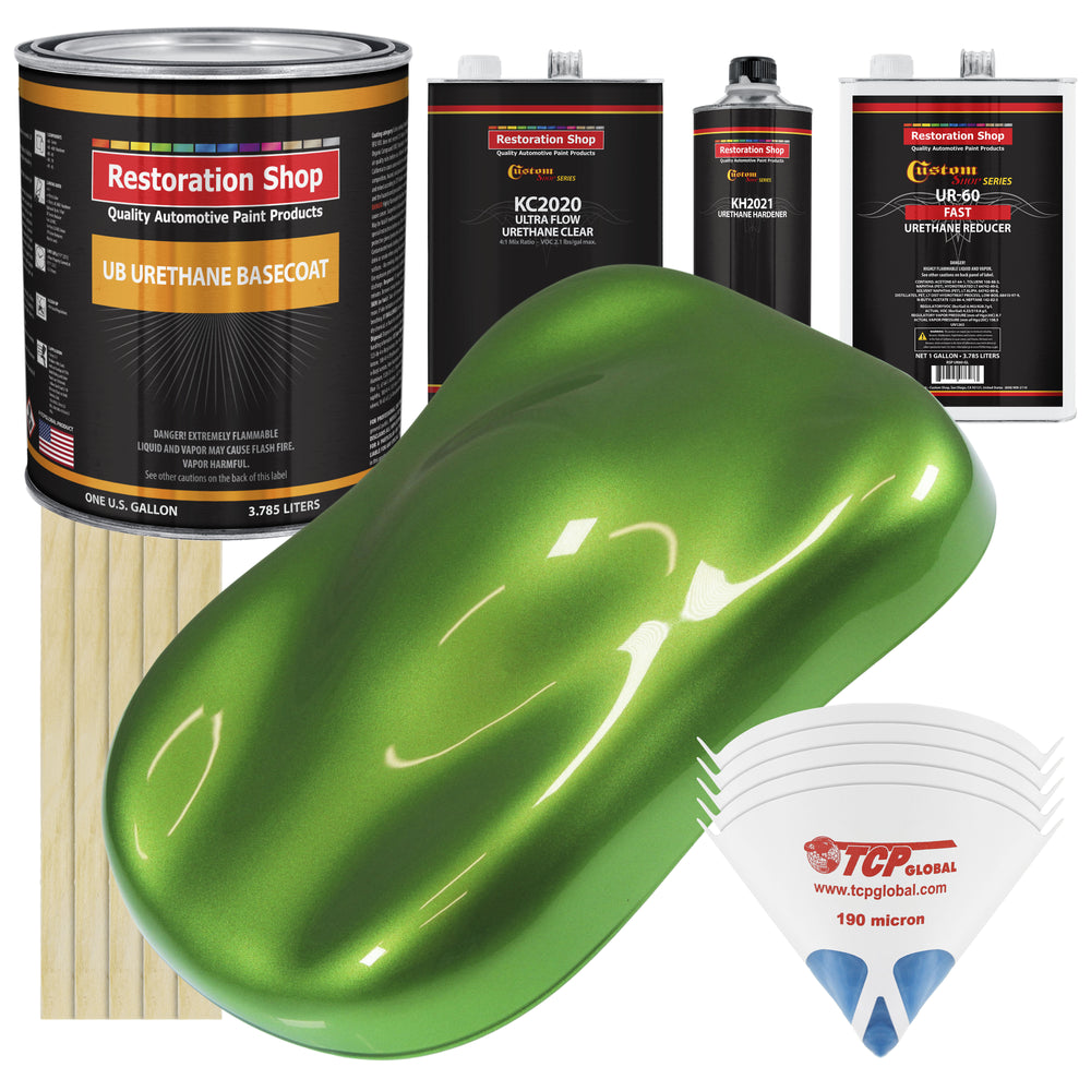 Synergy Green Metallic - Urethane Basecoat with Premium Clearcoat Auto Paint - Complete Fast Gallon Paint Kit - Professional High Gloss Automotive Coating