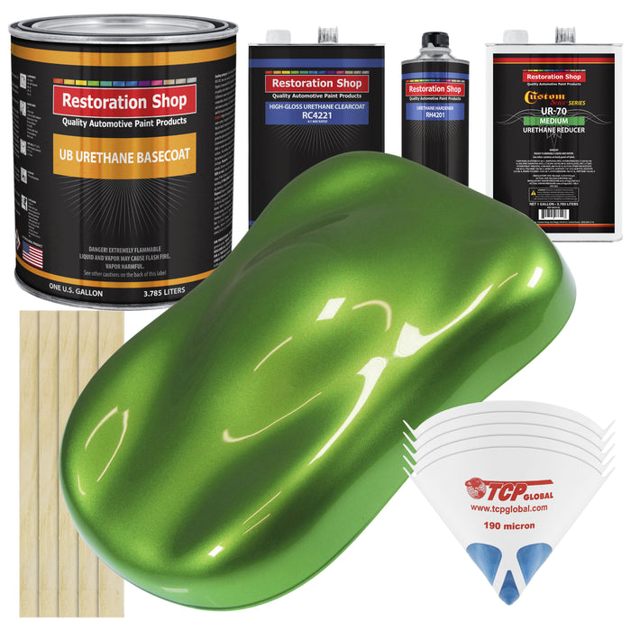 Synergy Green Metallic - Urethane Basecoat with Clearcoat Auto Paint - Complete Medium Gallon Paint Kit - Professional High Gloss Automotive, Car, Truck Coating