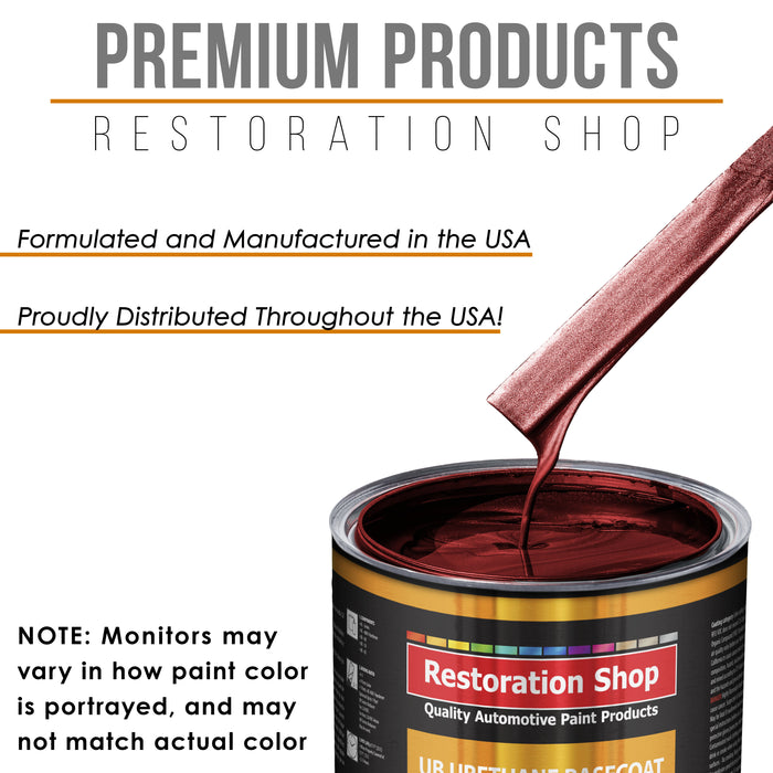 Fire Red Pearl - Urethane Basecoat with Premium Clearcoat Auto Paint - Complete Medium Quart Paint Kit - Professional High Gloss Automotive Coating