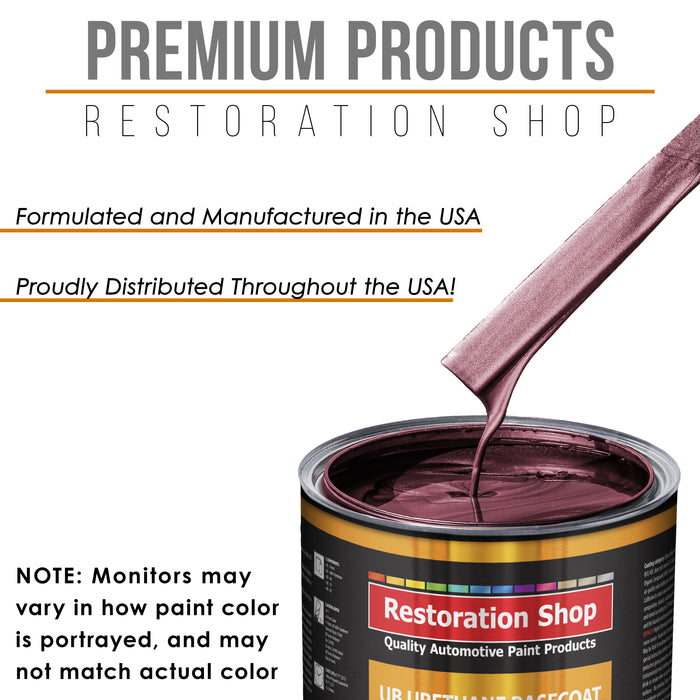 Vintage Burgundy Metallic - Urethane Basecoat with Premium Clearcoat Auto Paint - Complete Medium Quart Paint Kit - Professional High Gloss Automotive Coating