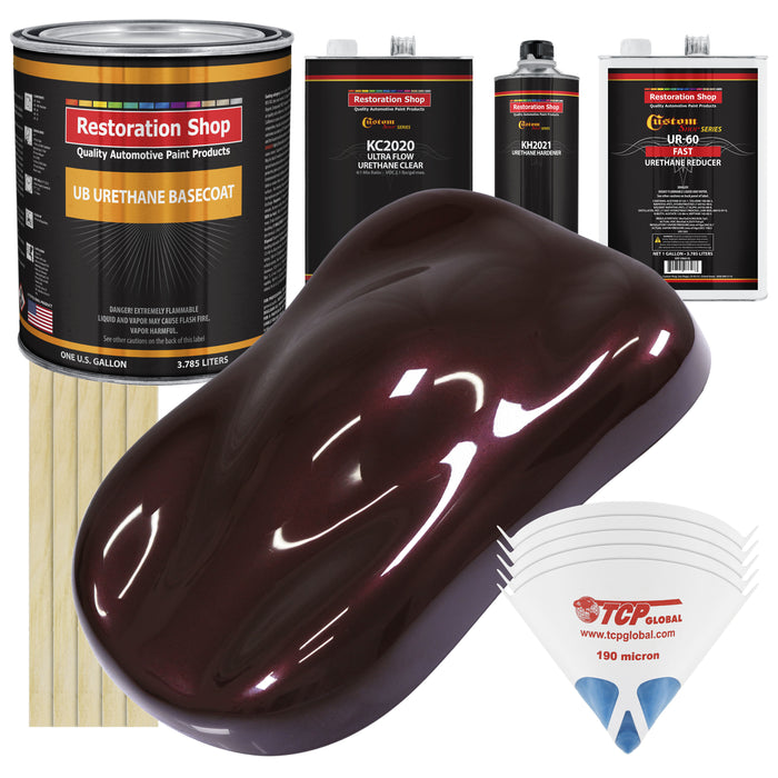 Molten Red Metallic - Urethane Basecoat with Premium Clearcoat Auto Paint - Complete Fast Gallon Paint Kit - Professional High Gloss Automotive Coating