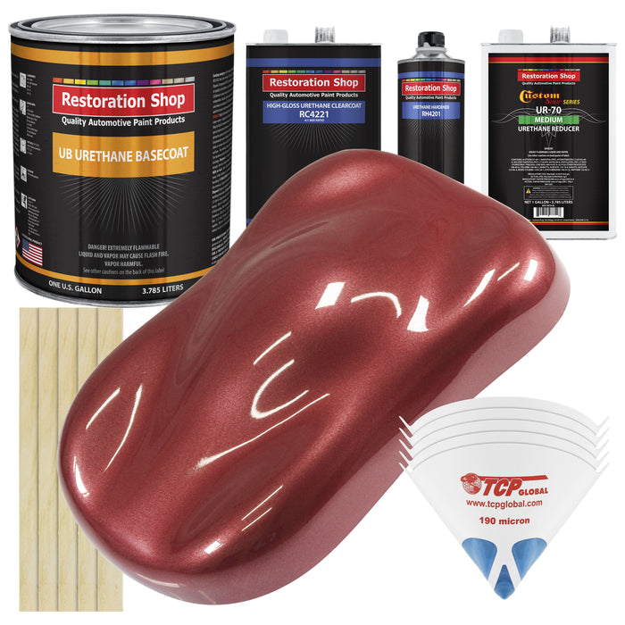 Candy Apple Red Metallic - Urethane Basecoat with Clearcoat Auto Paint - Complete Medium Gallon Paint Kit - Professional High Gloss Automotive, Car, Truck Coating