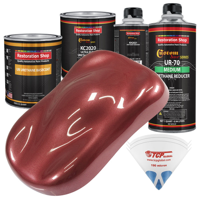 Candy Apple Red Metallic - Urethane Basecoat with Premium Clearcoat Auto Paint - Complete Medium Quart Paint Kit - Professional High Gloss Automotive Coating