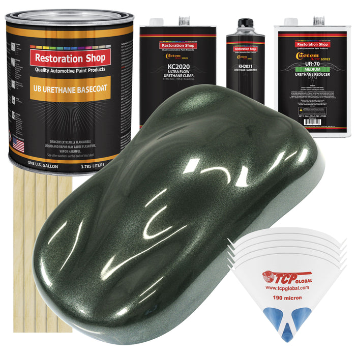 Fathom Green Firemist - Urethane Basecoat with Premium Clearcoat Auto Paint - Complete Medium Gallon Paint Kit - Professional High Gloss Automotive Coating