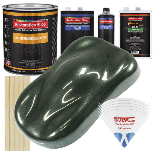 Fathom Green Firemist - Urethane Basecoat with Clearcoat Auto Paint - Complete Medium Gallon Paint Kit - Professional High Gloss Automotive, Car, Truck Coating
