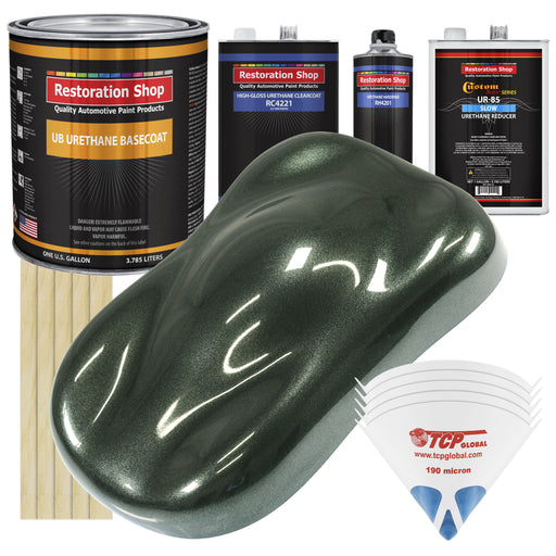 Fathom Green Firemist - Urethane Basecoat with Clearcoat Auto Paint - Complete Slow Gallon Paint Kit - Professional High Gloss Automotive, Car, Truck Coating
