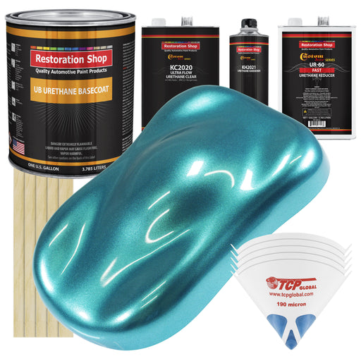 Aquamarine Firemist - Urethane Basecoat with Premium Clearcoat Auto Paint - Complete Fast Gallon Paint Kit - Professional High Gloss Automotive Coating