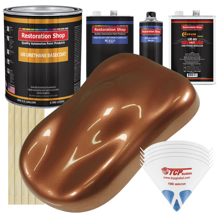 Firemist Copper - Urethane Basecoat with Clearcoat Auto Paint - Complete Fast Gallon Paint Kit - Professional High Gloss Automotive, Car, Truck Coating