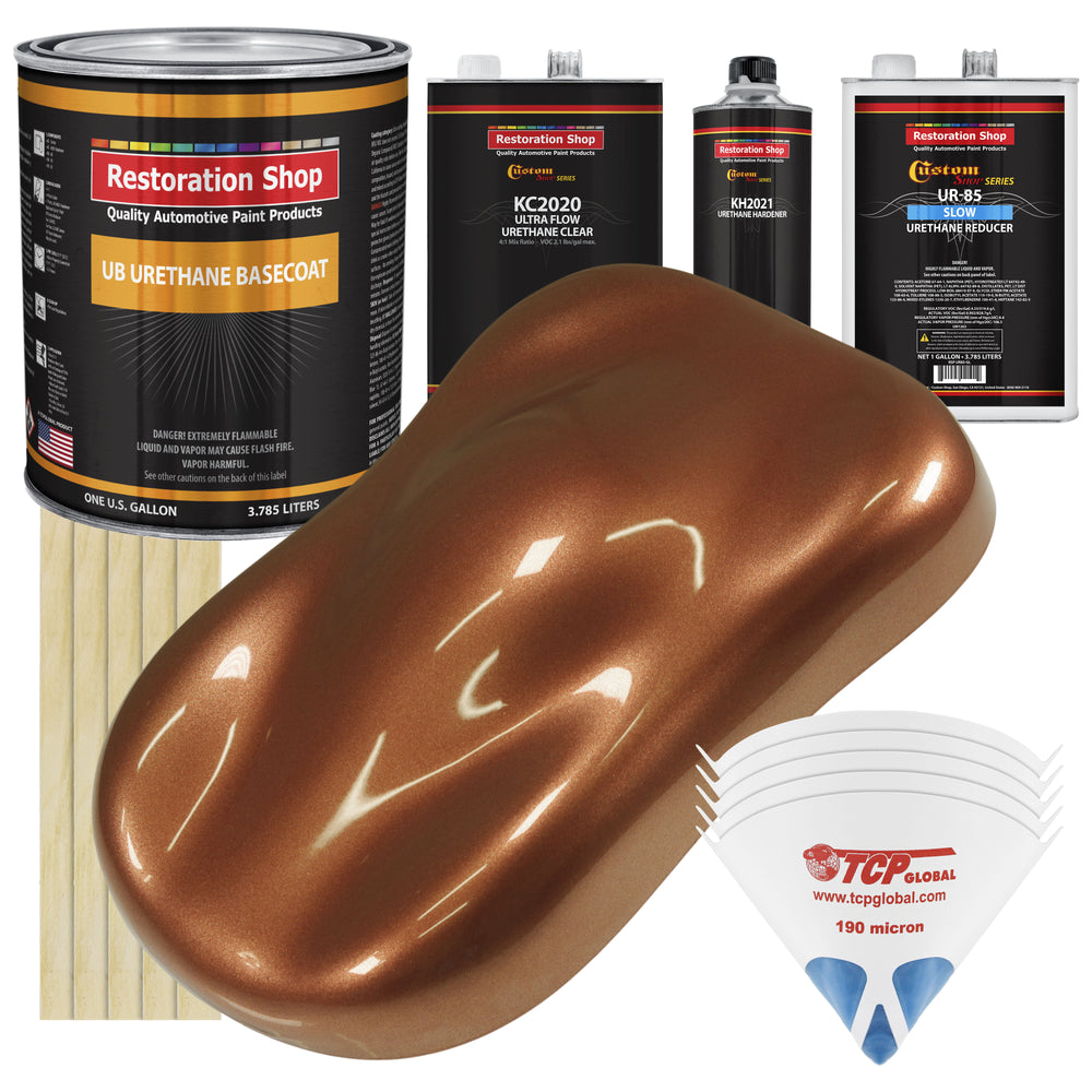 Firemist Copper - Urethane Basecoat with Premium Clearcoat Auto Paint - Complete Slow Gallon Paint Kit - Professional High Gloss Automotive Coating