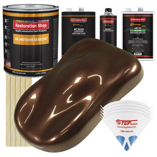 Saddle Brown Firemist - Urethane Basecoat with Premium Clearcoat Auto Paint - Complete Medium Gallon Paint Kit - Professional High Gloss Automotive Coating