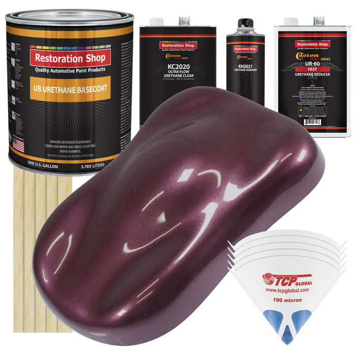 Milano Maroon Firemist - Urethane Basecoat with Premium Clearcoat Auto Paint - Complete Fast Gallon Paint Kit - Professional High Gloss Automotive Coating