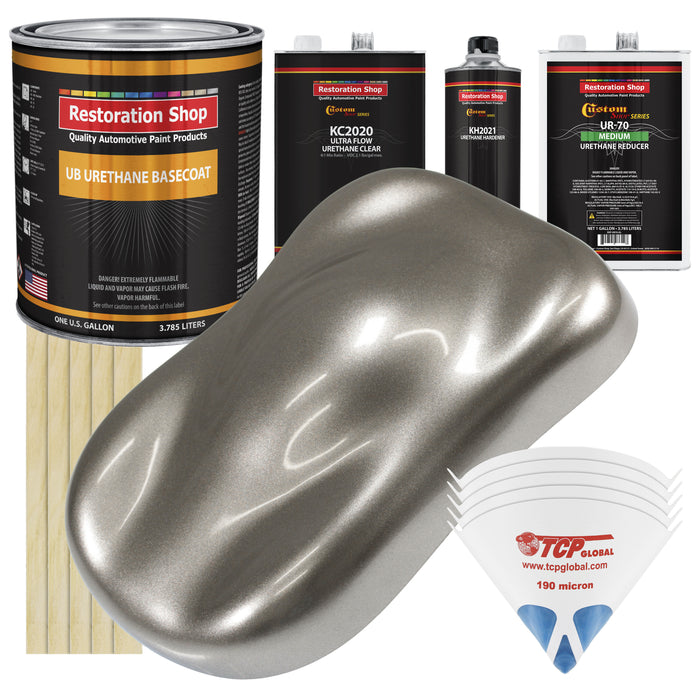 Firemist Pewter Silver - Urethane Basecoat with Premium Clearcoat Auto Paint - Complete Medium Gallon Paint Kit - Professional High Gloss Automotive Coating