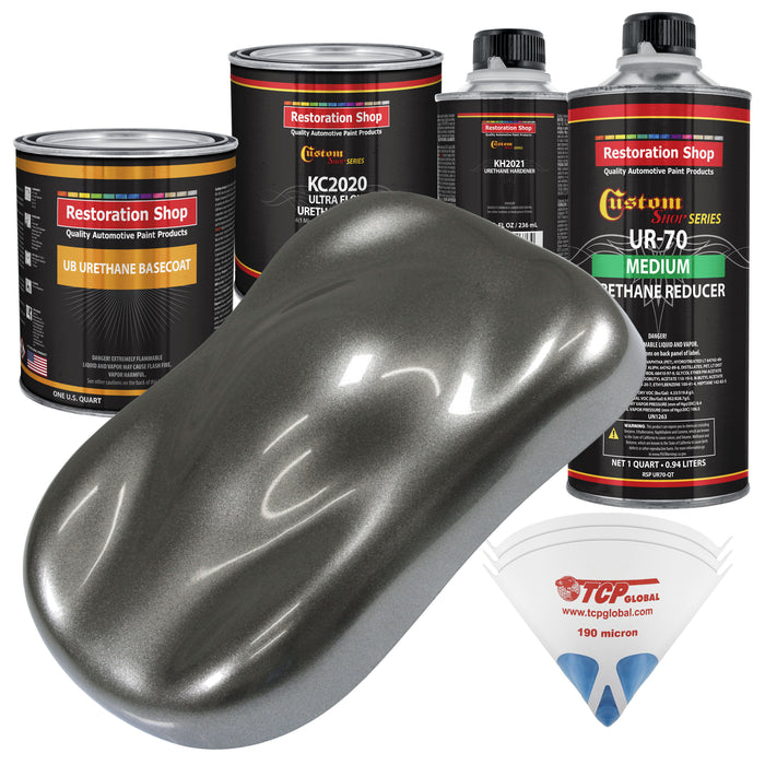 Charcoal Gray Firemist - Urethane Basecoat with Premium Clearcoat Auto Paint - Complete Medium Quart Paint Kit - Professional High Gloss Automotive Coating