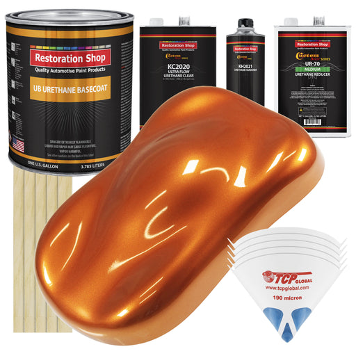 Firemist Orange - Urethane Basecoat with Premium Clearcoat Auto Paint - Complete Medium Gallon Paint Kit - Professional High Gloss Automotive Coating