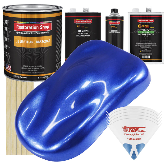 Cobalt Blue Firemist - Urethane Basecoat with Premium Clearcoat Auto Paint - Complete Medium Gallon Paint Kit - Professional High Gloss Automotive Coating