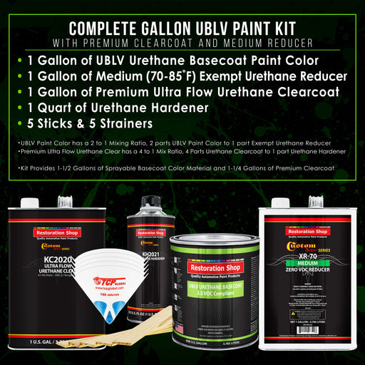 Pure White - LOW VOC Urethane Basecoat with Premium Clearcoat Auto Paint - Complete Medium Gallon Paint Kit - Professional High Gloss Automotive Coating