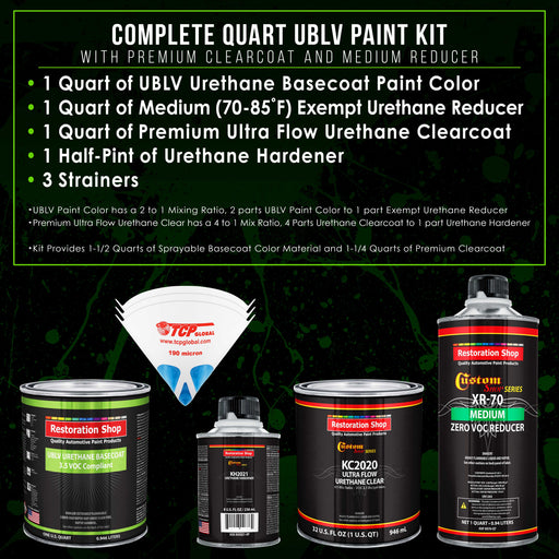 Pure White - LOW VOC Urethane Basecoat with Premium Clearcoat Auto Paint - Complete Medium Quart Paint Kit - Professional High Gloss Automotive Coating