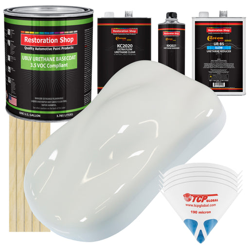 Pure White - Premium Slow, 3.5 Low VOC Urethane Basecoat Automotive Car Paint, 1 Gallon Kit