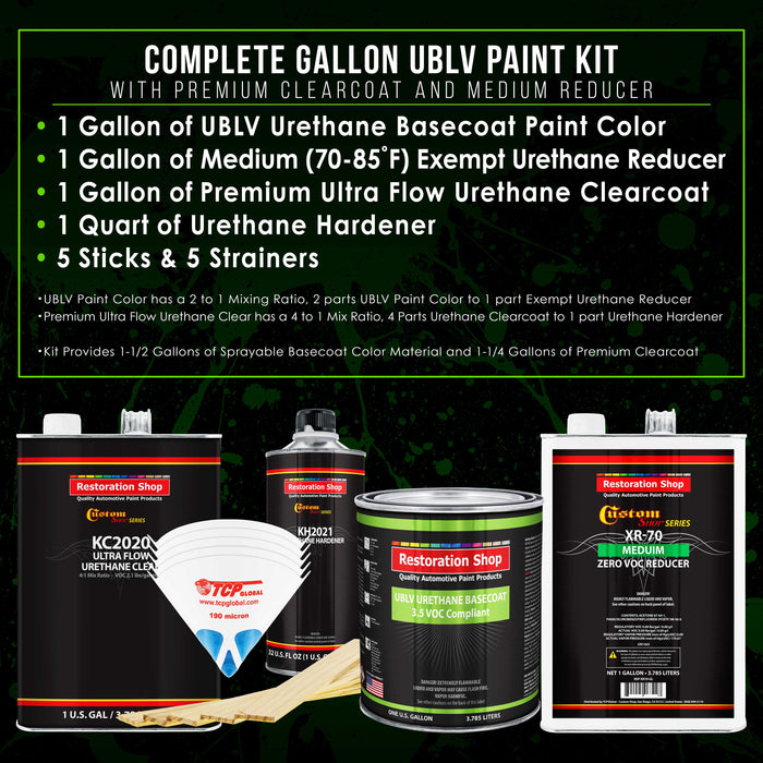 Spinnaker White - LOW VOC Urethane Basecoat with Premium Clearcoat Auto Paint - Complete Medium Gallon Paint Kit - Professional High Gloss Automotive Coating