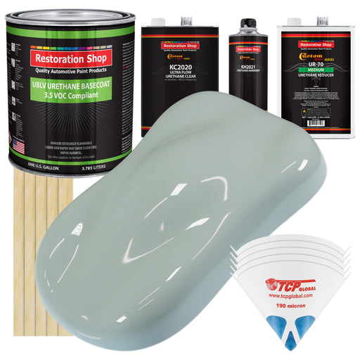 Fleet White - LOW VOC Urethane Basecoat with Premium Clearcoat Auto Paint - Complete Medium Gallon Paint Kit - Professional High Gloss Automotive Coating