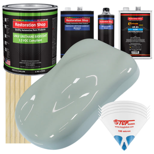 Fleet White - LOW VOC Urethane Basecoat with Clearcoat Auto Paint - Complete Slow Gallon Paint Kit - Professional High Gloss Automotive Coating