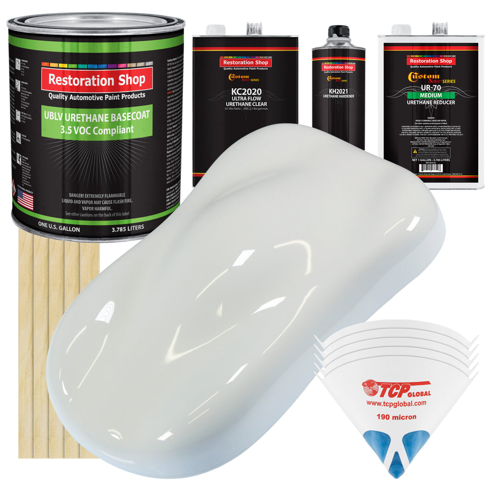Cameo White - LOW VOC Urethane Basecoat with Premium Clearcoat Auto Paint - Complete Medium Gallon Paint Kit - Professional High Gloss Automotive Coating