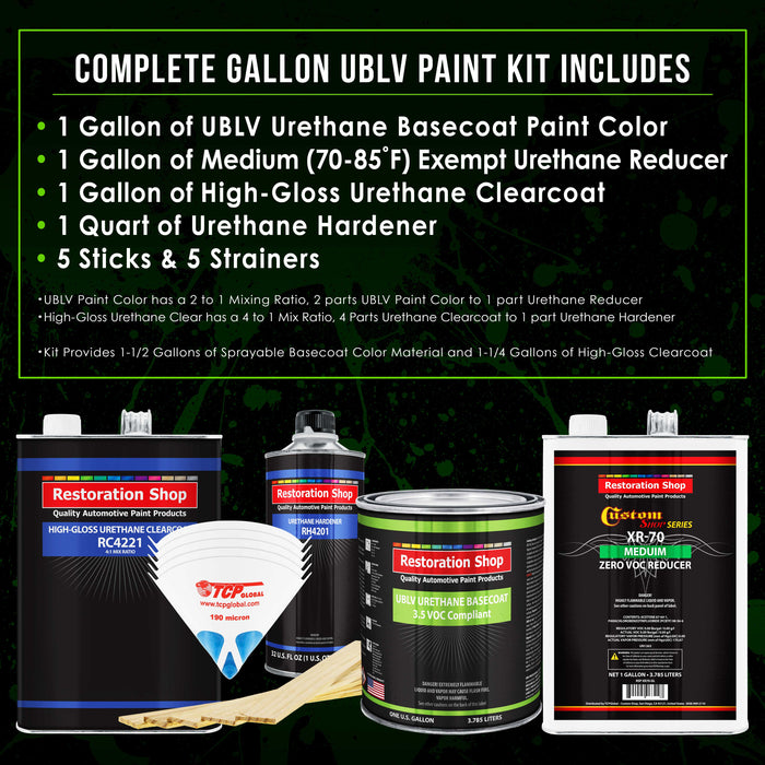 Cameo White - LOW VOC Urethane Basecoat with Clearcoat Auto Paint - Complete Medium Gallon Paint Kit - Professional High Gloss Automotive Coating