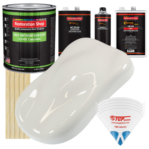 Wispy White - LOW VOC Urethane Basecoat with Premium Clearcoat Auto Paint - Complete Fast Gallon Paint Kit - Professional High Gloss Automotive Coating
