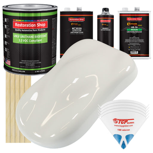 Wispy White - LOW VOC Urethane Basecoat with Premium Clearcoat Auto Paint - Complete Medium Gallon Paint Kit - Professional High Gloss Automotive Coating