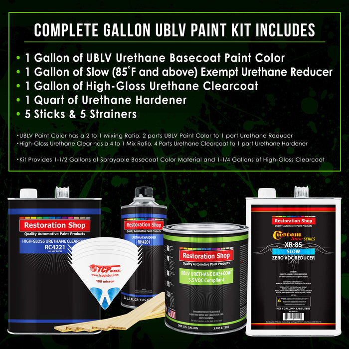 Wispy White - LOW VOC Urethane Basecoat with Clearcoat Auto Paint - Complete Slow Gallon Paint Kit - Professional High Gloss Automotive Coating