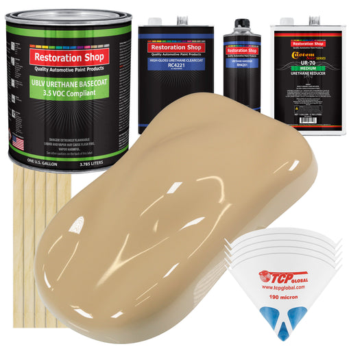 Shoreline Beige - LOW VOC Urethane Basecoat with Clearcoat Auto Paint - Complete Medium Gallon Paint Kit - Professional High Gloss Automotive Coating