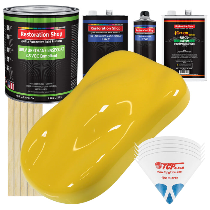 Daytona Yellow - LOW VOC Urethane Basecoat with Clearcoat Auto Paint - Complete Medium Gallon Paint Kit - Professional High Gloss Automotive Coating