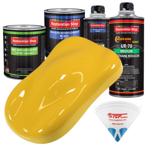 Boss Yellow - LOW VOC Urethane Basecoat with Clearcoat Auto Paint - Complete Medium Quart Paint Kit - Professional High Gloss Automotive Coating